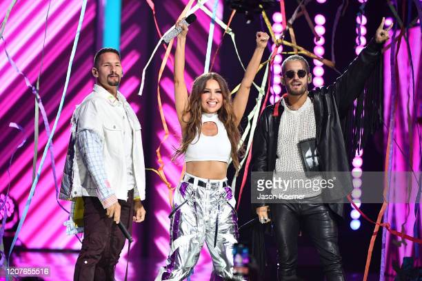 Thalia and Mau and Ricky perform live on stage during Univision's Premio Lo Nuestro 2020 at AmericanAirlines Arena on February 20 2020 in Miami...