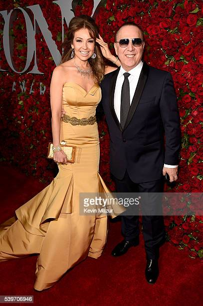 Thalia and Tommy Mottola attend the 70th Annual Tony Awards at The Beacon Theatre on June 12 2016 in New York City
