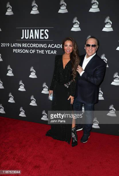 Thalia and Tommy Mottola attend the Latin Recording Academy's 2019 Person of the Year gala honoring Juanes at the Premier Ballroom at MGM Grand Hotel...