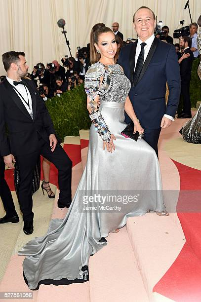 Thalia and Tommy Mottola attend the 'Manus x Machina Fashion In An Age Of Technology' Costume Institute Gala at Metropolitan Museum of Art on May 2...