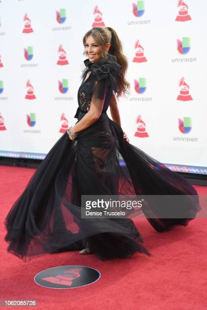 Thalia attends the 19th annual Latin GRAMMY Awards at MGM Grand Garden Arena on November 15 2018 in Las Vegas Nevada