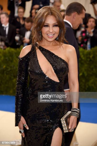 Thalia attends the Rei Kawakubo/Comme des Garcons Art Of The InBetween Costume Institute Gala at Metropolitan Museum of Art on May 1 2017 in New York...