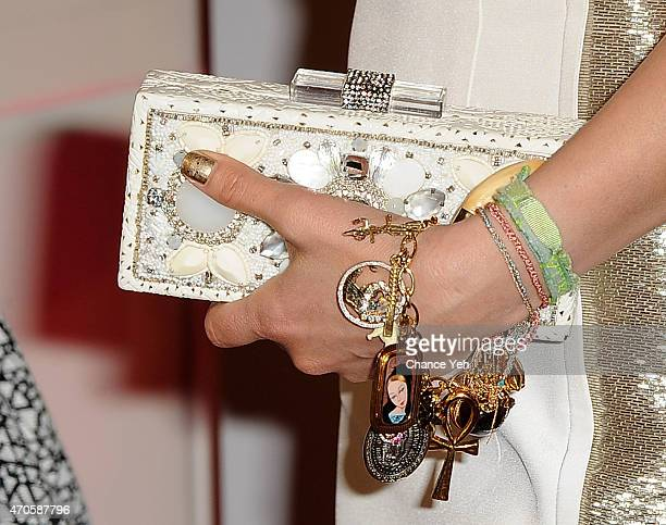 Thalia clutch detail attends 2015 ArtsConnection Benefit Celebration at 583 Park Avenue on April 21 2015 in New York City