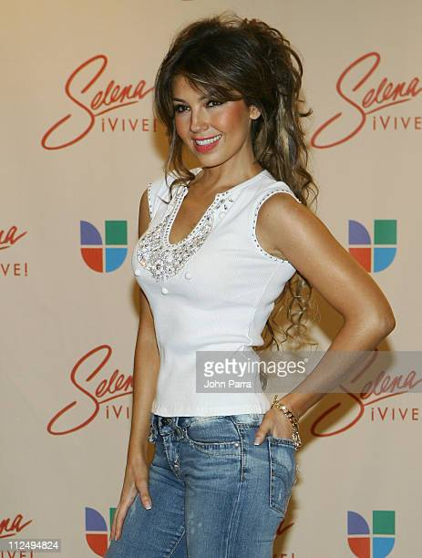 Thalia during 'Selena iVIVE' Tribute Concert Press Room at Reliant Stadium in Houston Texas United States