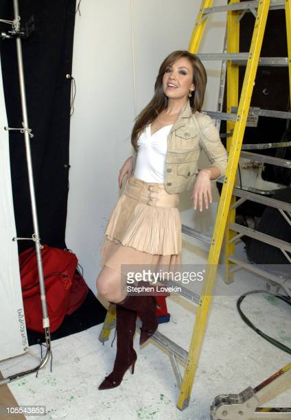 Thalia during Thalia on Set For Hershey's 'Kissables' Commercial December 7 2005 at Silver Cup Studios in New York City New York United States