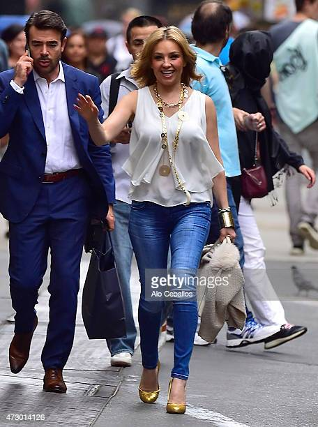 Thalia is seen in Midtown on May 11, 2015 in New York City.