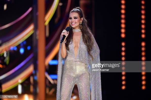 Thalia on stage during Univision's Premio Lo Nuestro 2020 at AmericanAirlines Arena on February 20 2020 in Miami Florida