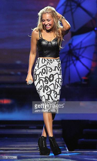 Thalia performs during rehearsal for Premios Juventud 2013 at Bank United Center on July 17 2013 in Miami Florida