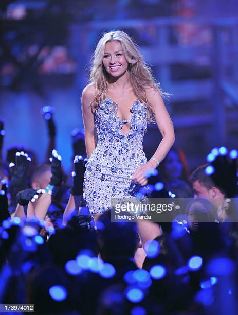 Thalia performs onstage during the Premios Juventud 2013 at Bank United Center on July 18 2013 in Miami Florida