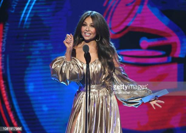 Thalia presents an award onstage during the 19th annual Latin GRAMMY Awards at MGM Grand Garden Arena on November 15, 2018 in Las Vegas, Nevada.