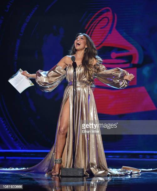 Thalia presents an award onstage during the 19th annual Latin GRAMMY Awards at MGM Grand Garden Arena on November 15 2018 in Las Vegas Nevada