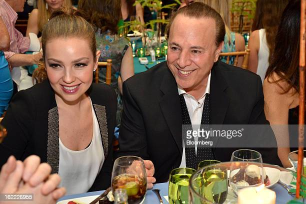 Thalia, singer and songwriter, and Tommy Mottola, music executive, attend the eighth annual Everglades Foundation benefit at the Breakers Hotel in...
