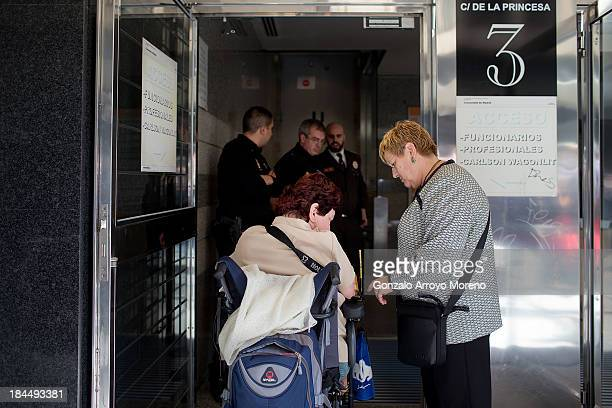 Thalidomide victim enters the court with her mother for the first day of a trial involving the German pharmaceutical company Gruenenthal which...