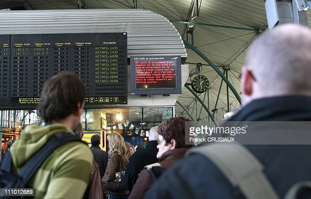 TGV Thalys and Eurostar station Lille Europe a destination of European capitals and provincial towns accusing large delays due to acts of malice in...