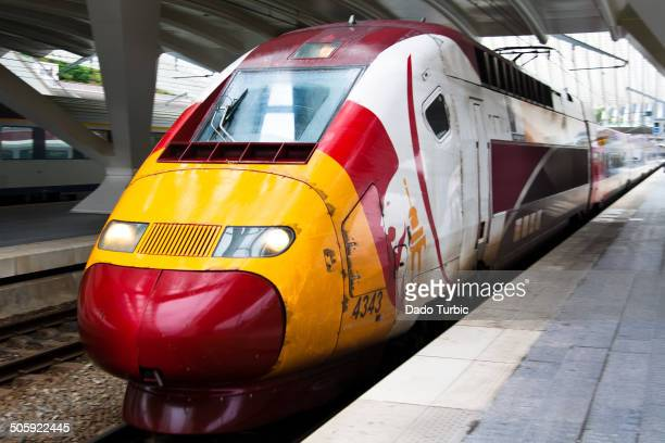 CONTENT] Thalys speed train waiting at train station