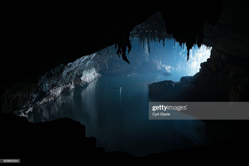 Tham Khon Xe River Cave Laos : Stock Photo
