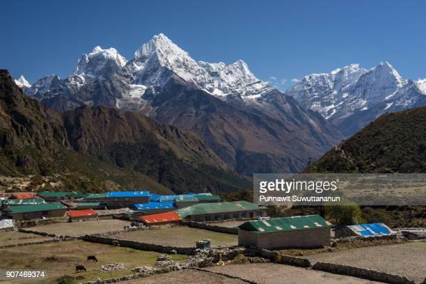 Thame village and Himalaya mountains, Everest region, Nepal