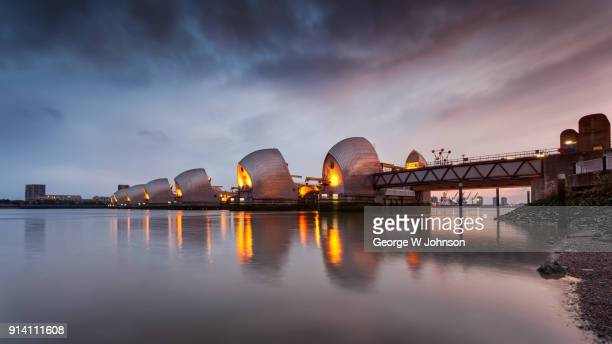thames barrier ii - woolwich stock photos and pictures