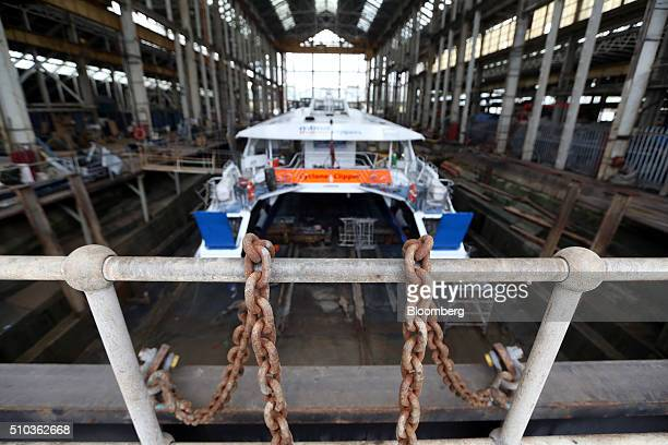 A Thames Clipper catamaran sits in a dry dock at Turks boatyard in Chatham UK on Thursday Oct 29 2015 The Thames Clipper river bus service added two...
