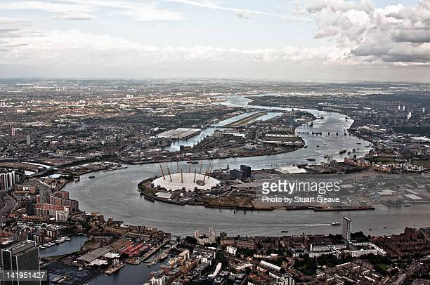 Thames of East London from air