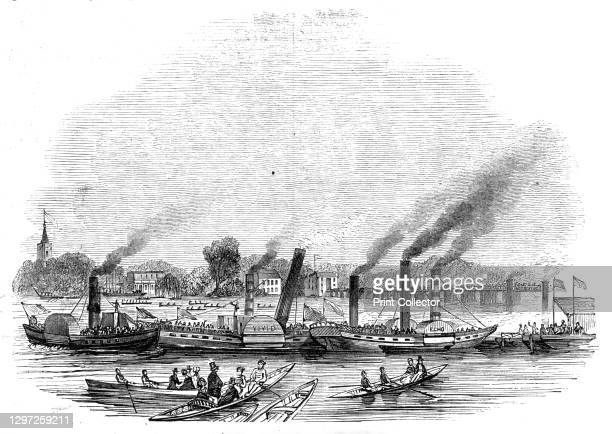 """Thames Regatta, Putney Bridge, 1844. Racing on the River Thames at Putney in south-west London. From """"Illustrated London News"""" Vol I. Artist Unknown."""