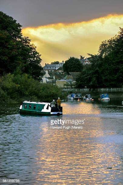 Thames river valley sunset