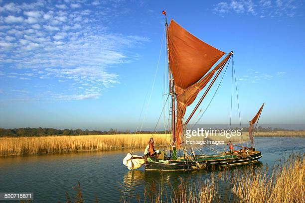 Thames sailing barge Snape Suffolk This type of sailing vessel developed in the 19th century carrying cargo on the Thames Estuary and further afield...