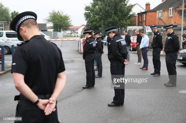 Thames Valley Police officers attend a memorial service for Pc Andrew Harper at Newbury Police Station to mark the first anniversary of his death on...