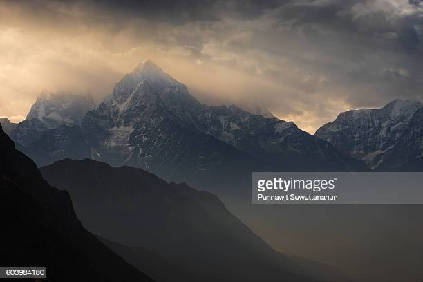 Thamserku mountain peak in the morning, Everest region