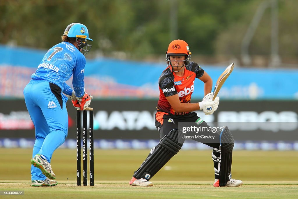 Thamsyn Newton of the Scorchers bats during the Women's Big Bash League match between the Adelaide Strikers and the Perth Scorchers at Traeger Park on January 13, 2018 in Alice Springs, Australia.