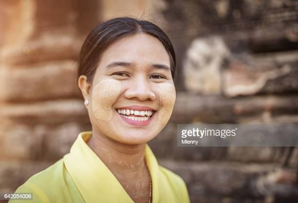 Thanaka Make-Up Happy Smiling Young Burmese Woman Myanmar