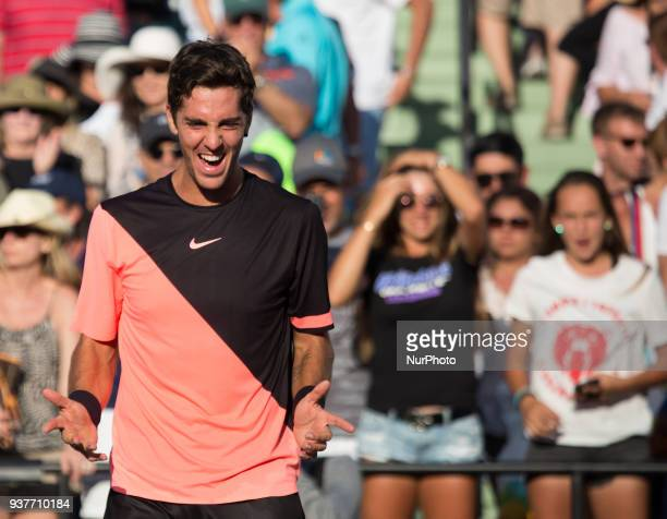 Thanasi Kokkinakis expressing his joy after defeting Roger Federer at the Miami Open in Key biscayne Kokkinakis defeated Federer 36 66 76 on March 24...