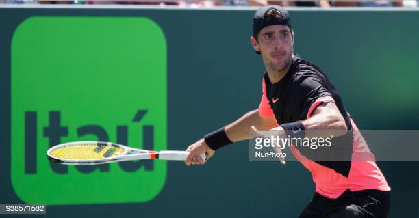 Thanasi Kokkinakis from Australia in action against Fernando Verdasco from Spain during his third round match at the Miami Open in Key Biscayne in...