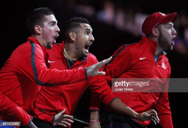Thanasi Kokkinakis Nick Kyrgios Jack Sock of Team World celebrate from the players bench as John Isner of Team World plays his singles match against...