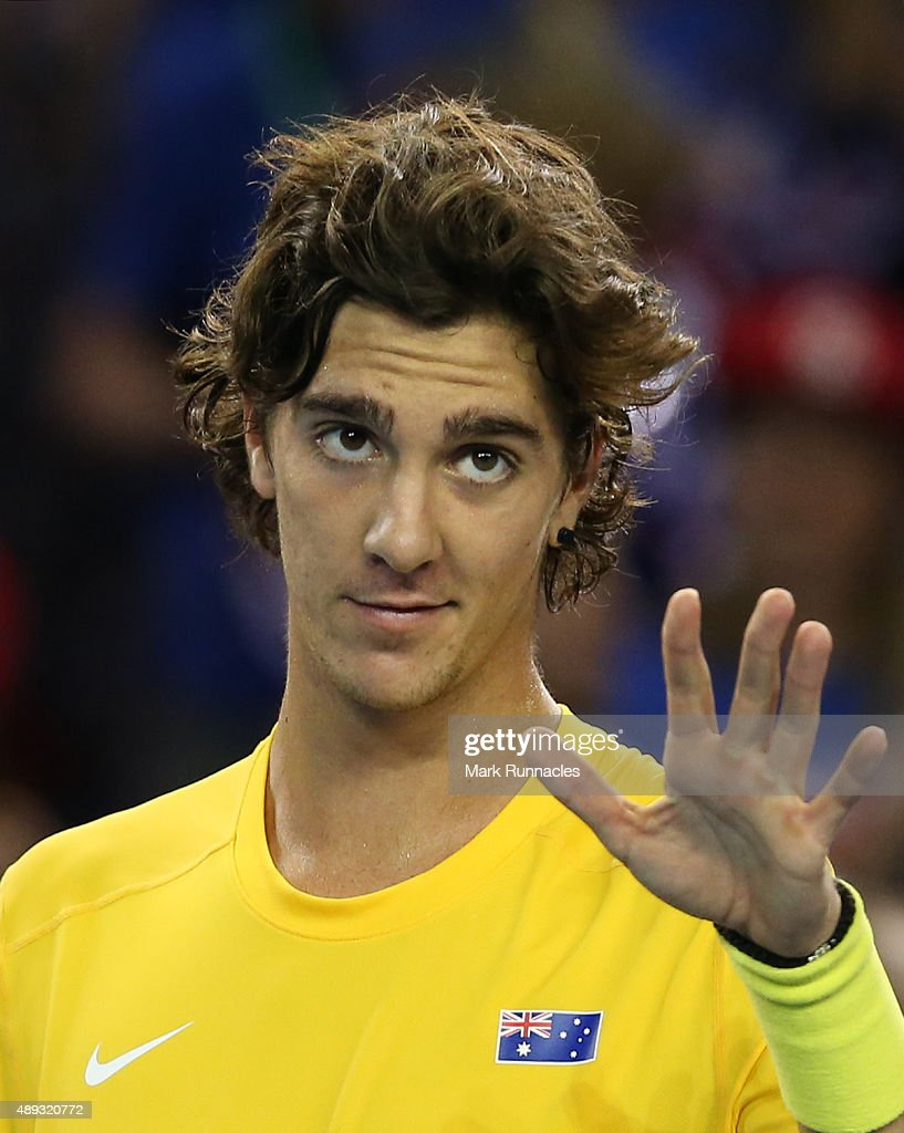 Thanasi Kokkinakis of Australia celebrates his victory over Dan Evens of Great Britain during his singles match on the third day of the Davis Cup Semi Final 2015 between Great Britain and Australia at the Emirates Arena on September 20, 2015 in Glasgow Scotland.