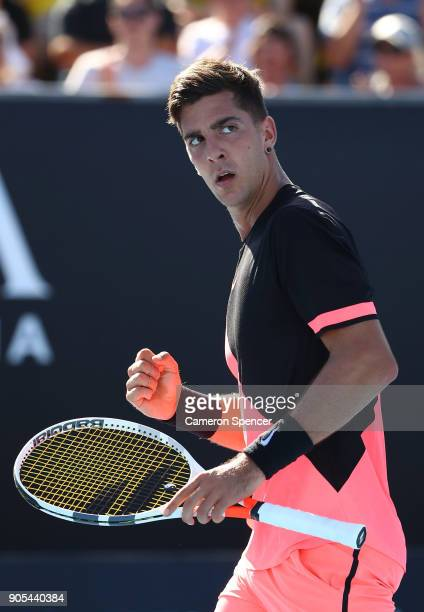 Thanasi Kokkinakis of Australia celebrates winning a point in his first round match against Daniil Medvedev of Russia on day two of the 2018...
