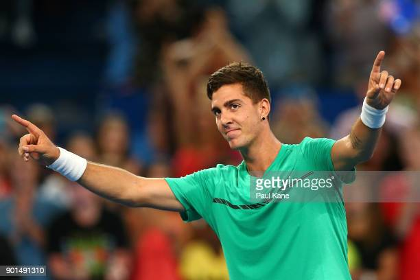 Thanasi Kokkinakis of Australia celebrates winning his singles match against Alexander Zverev of Germany on day seven during the 2018 Hopman Cup at...