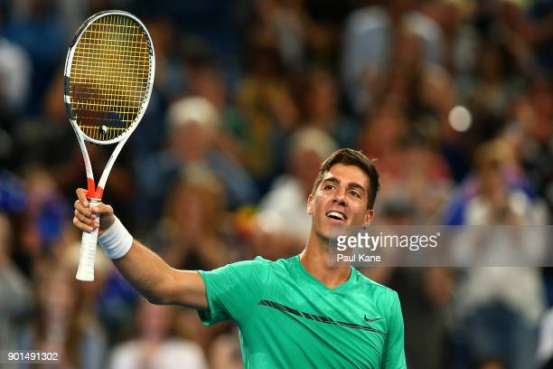 Thanasi Kokkinakis of Australia celebrates winning the singles match against Alexander Zverev of Germany on day seven during the 2018 Hopman Cup at...