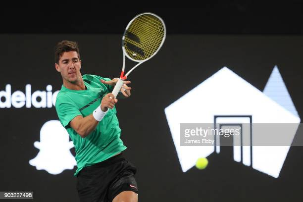 Thanasi Kokkinakis of Australia competes in his match against Frances Tiafoe of the United States on day three of the 2018 World Tennis Challenge at...