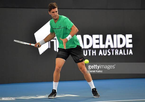 Thanasi Kokkinakis of Australia competes in his match against Gael Monfils of France during day one of the World Tennis Challenge at Memorial Drive...