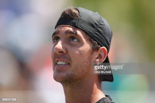 Thanasi Kokkinakis of Australia complains to the umpire as he plays against Fernando Verdasco of Spain in their third round match during the Miami...