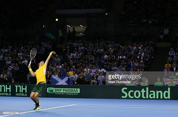 Thanasi Kokkinakis of Australia in action during his singles match with Dan Evens of Great Britain on the third day of the Davis Cup Semi Final 2015...