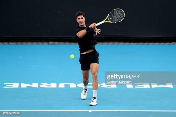 Thanasi Kokkinakis of Australia plays a forehand in his match against Alex Bolt of Australia during day one of the ATP 250 Murray River Open at...
