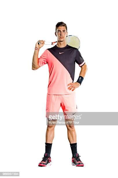 Thanasi Kokkinakis of Australia poses for portraits during the Australian Open at Melbourne Park on January 13 2018 in Melbourne Australia