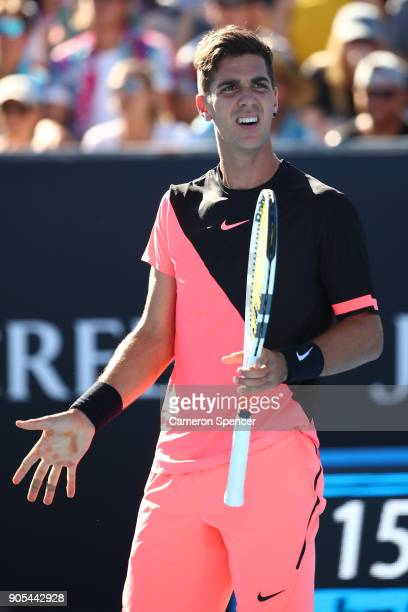 Thanasi Kokkinakis of Australia reacts in his first round match against Daniil Medvedev of Russia on day two of the 2018 Australian Open at Melbourne...