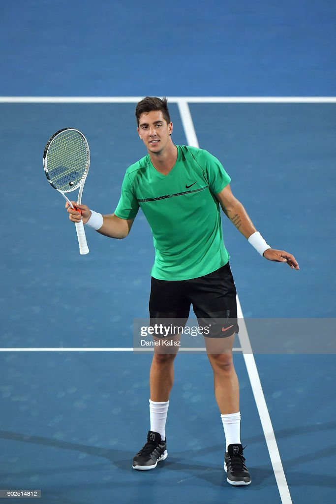 Thanasi Kokkinakis of Australia reacts to the crowd in his match against Gael Monfils of France during day one of the World Tennis Challenge at Memorial Drive on January 8, 2018 in Adelaide, Australia.