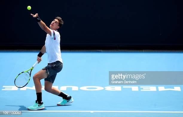 Thanasi Kokkinakis of Australia serves in his match against Mohamed Safwat of Egypt during day one of Qualifying for the 2019 Australian Open at...