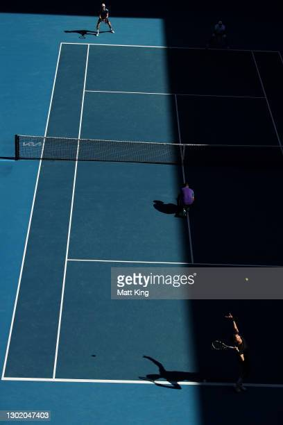 Thanasi Kokkinakis of Australia serves in his Men's Doubles second round match with partner Nick Kyrgios of Australia against Wesley Koolhof of the...