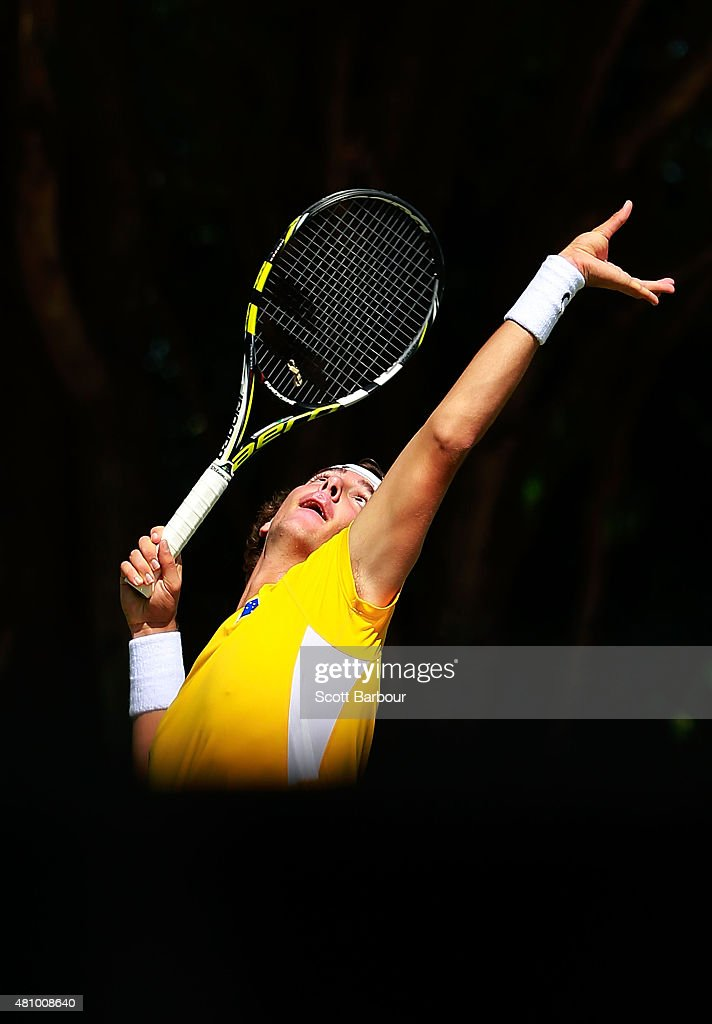 Thanasi Kokkinakis of Australia serves in his singles match against Mikhail Kukushkin of Kazakhstan during day one of the Davis Cup World Group quarterfinal tie between Australia and Kazakhstan at Marrara Sporting Complex on July 17, 2015 in Darwin, Australia.