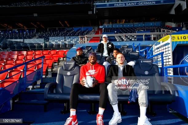 Thanasis Antetokounmpo, Giannis Antetokounmpo, Pat Connaughton, Cameron Reynolds and Donte Divicenzo of the Milwaukee Bucks sit on the Paris...